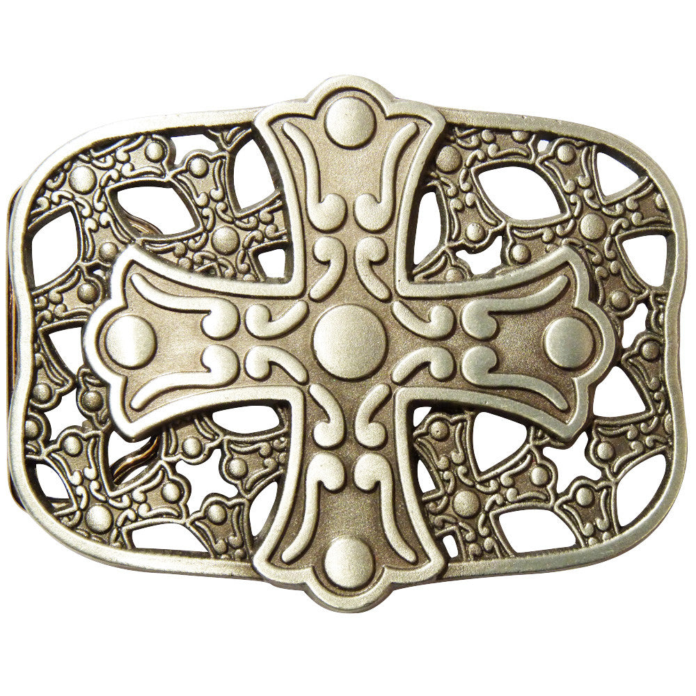 Cross Shield Belt Buckle - Metal Finish - BBT Clothing