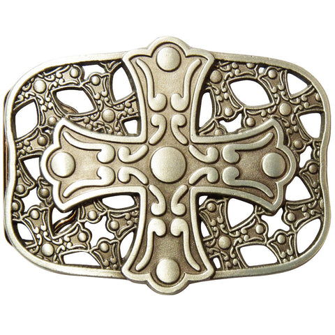 Cross Shield Belt Buckle - Metal Finish