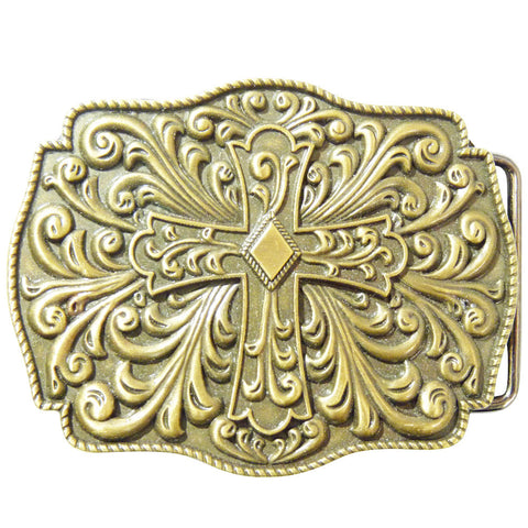 Cross Belt Buckle - Antique Finish