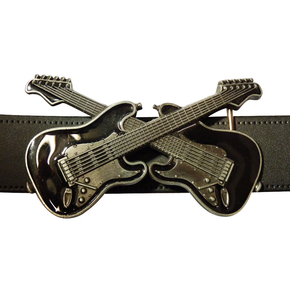 Guitar Dual Belt Buckle in Black - BBT Clothing - 3