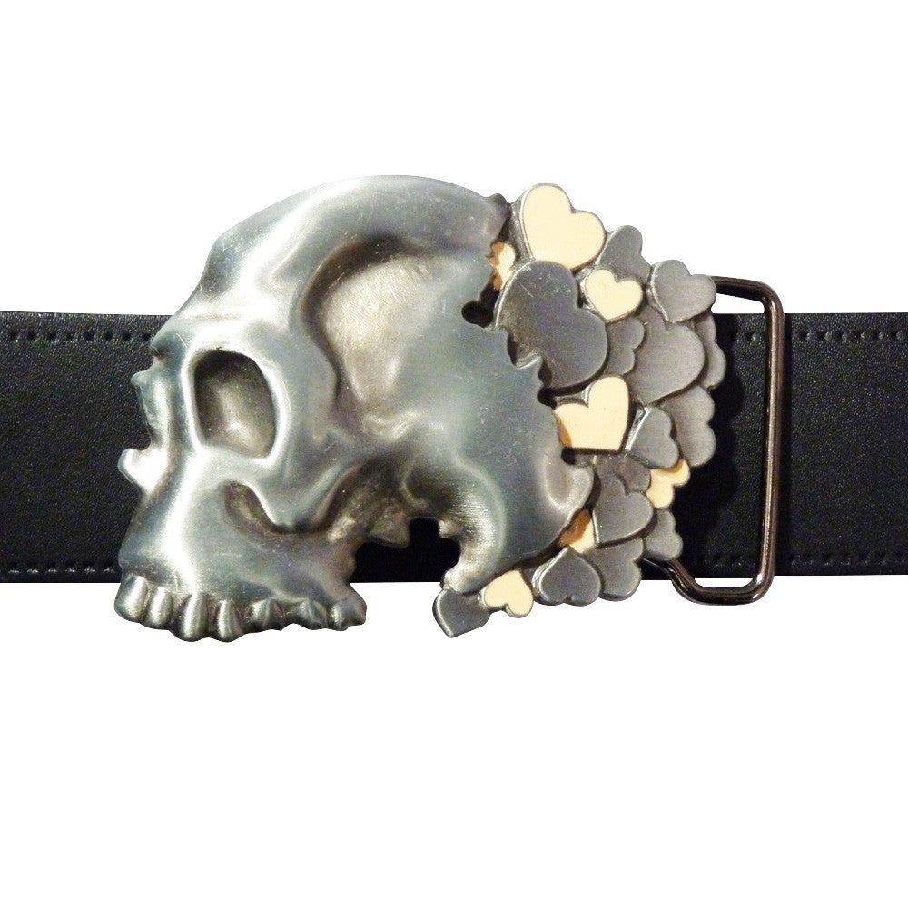 Skull with Hearts Belt Buckle - BBT Clothing - 3