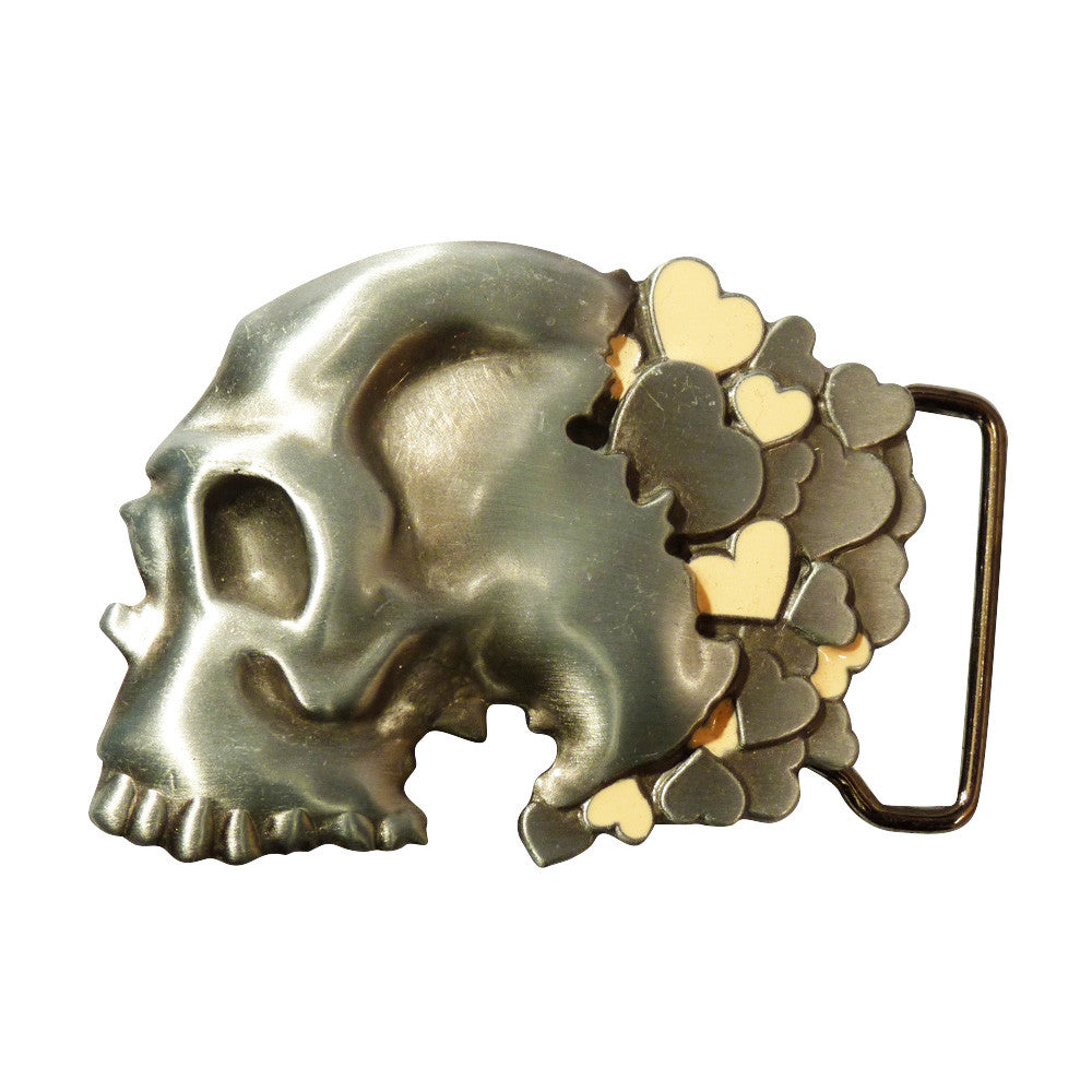 Skull with Hearts Belt Buckle - BBT Clothing - 4