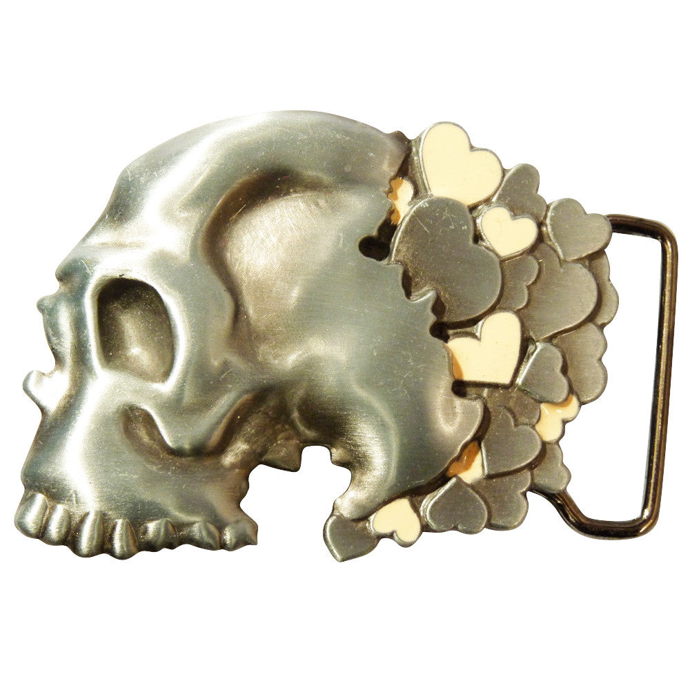 Skull with Hearts Belt Buckle - BBT Clothing - 1