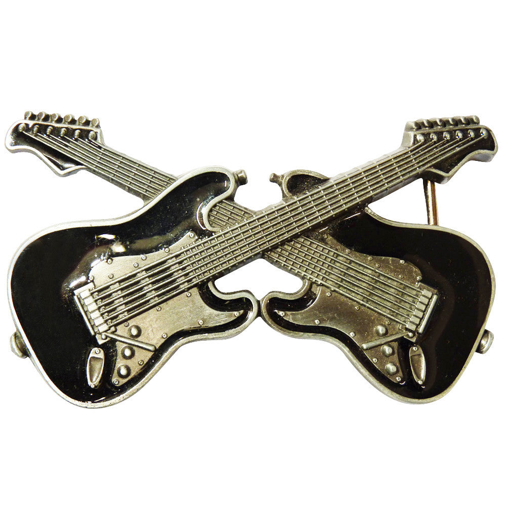 Guitar Dual Belt Buckle in Black - BBT Clothing - 4