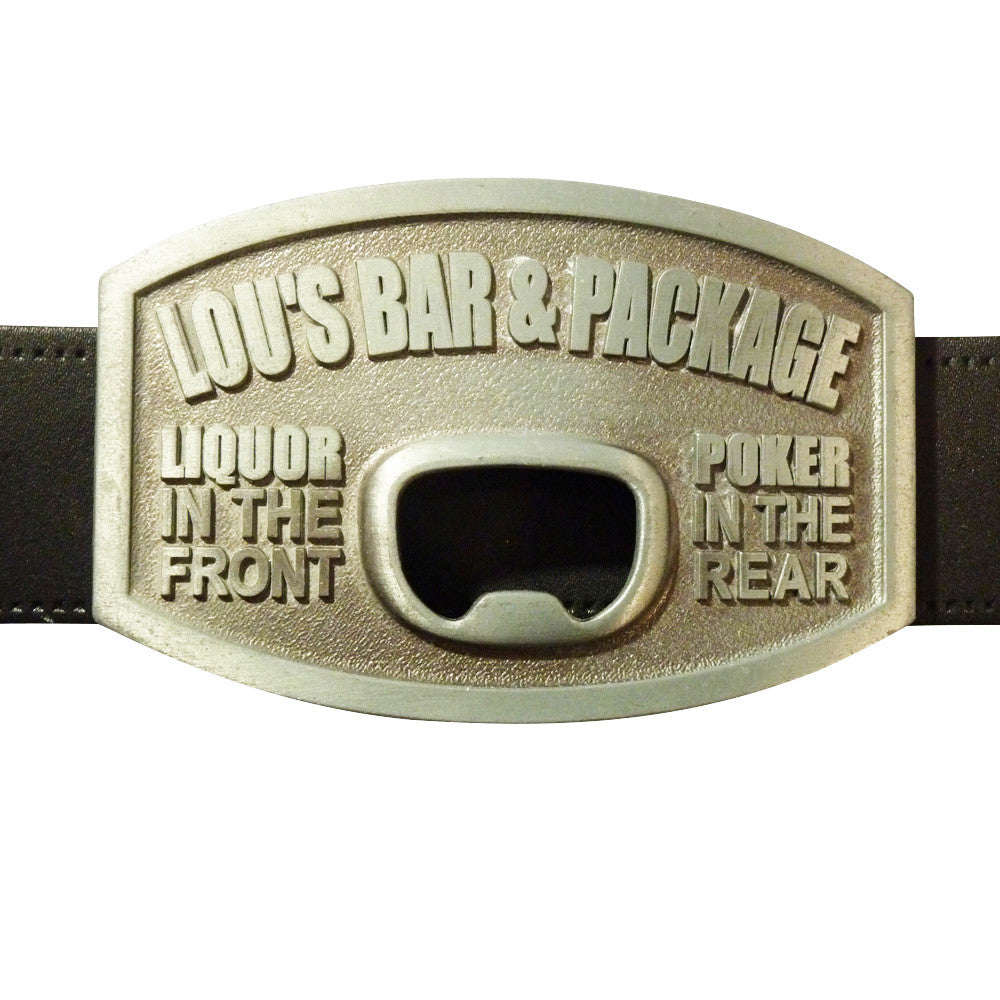 Lou's Bar and Package Bottle Opener Belt Buckle - BBT Clothing - 3