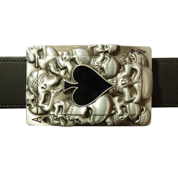 Ace of Spades Card Belt Buckle with 3D Skulls - BBT Clothing