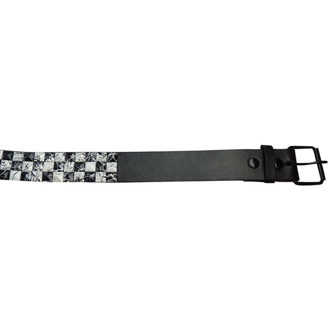 Black and White Studded Belt With Paint Splash Design