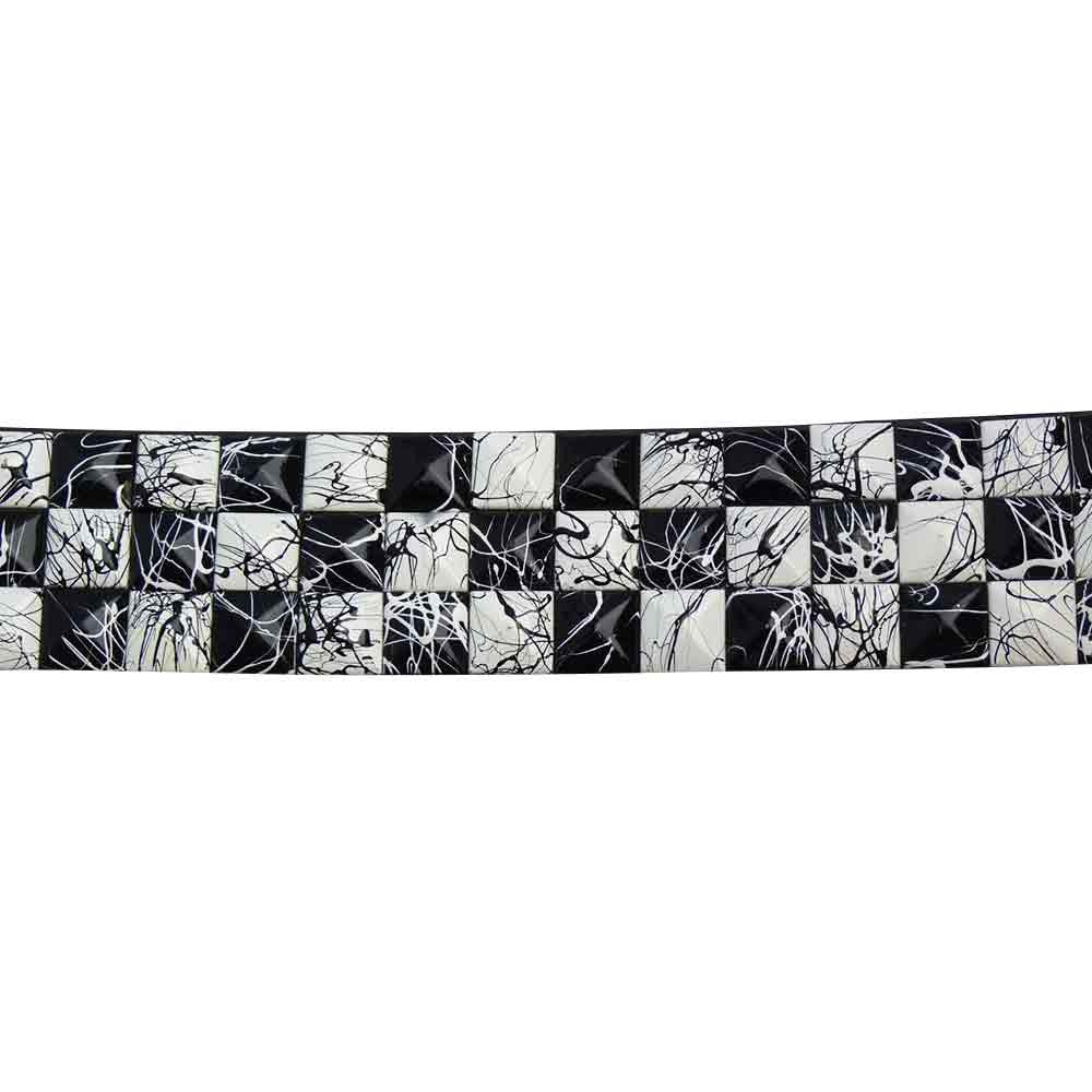 Black and White Studded Belt With Paint Splash Design - BBT Clothing