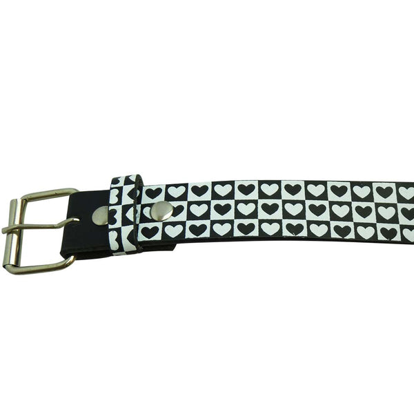 Love Hearts Belt in Black and White - BBT Clothing - 2