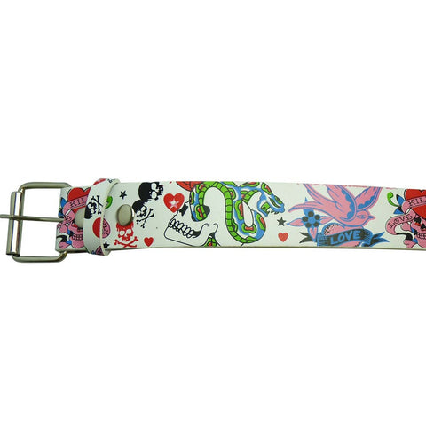 Skull and Snake Design Printed Belt in Multi Colours