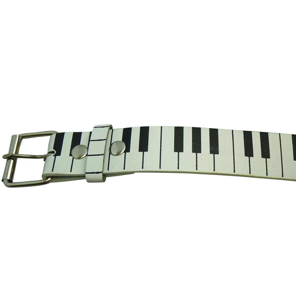 Piano Design Printed Belt in Black and White - BBT Clothing - 2