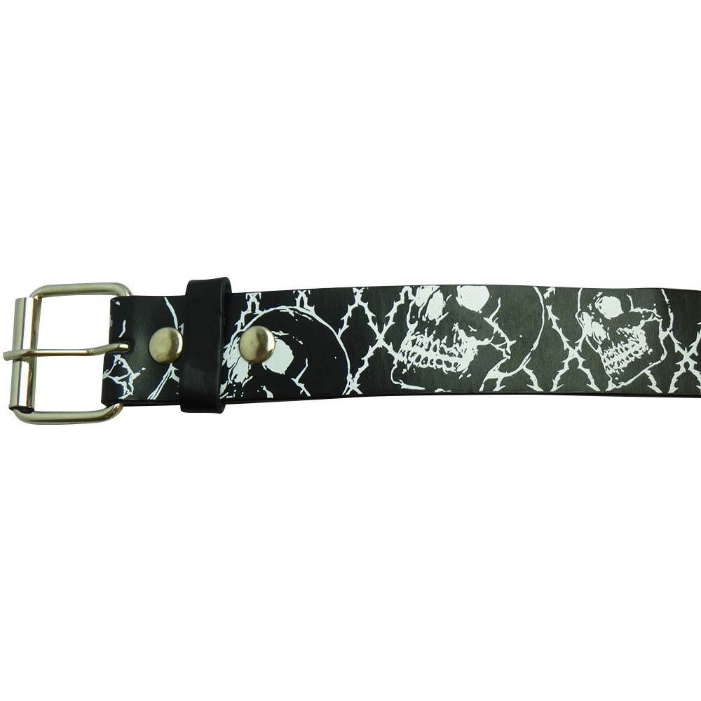 Printed Belt - Black and white skull - BBT Clothing - 2