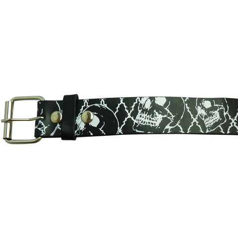 Printed Belt - Black and white skull