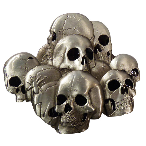 Stacked Skulls Belt Buckle - BBT Clothing - 2