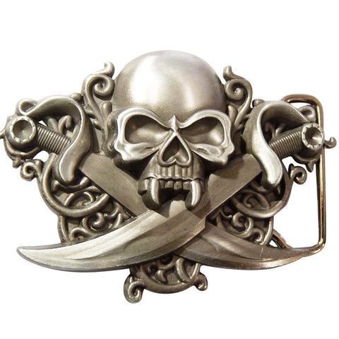 Skull with Swords Buckle