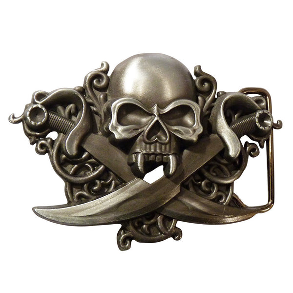Skull with Swords Buckle - BBT Clothing - 4