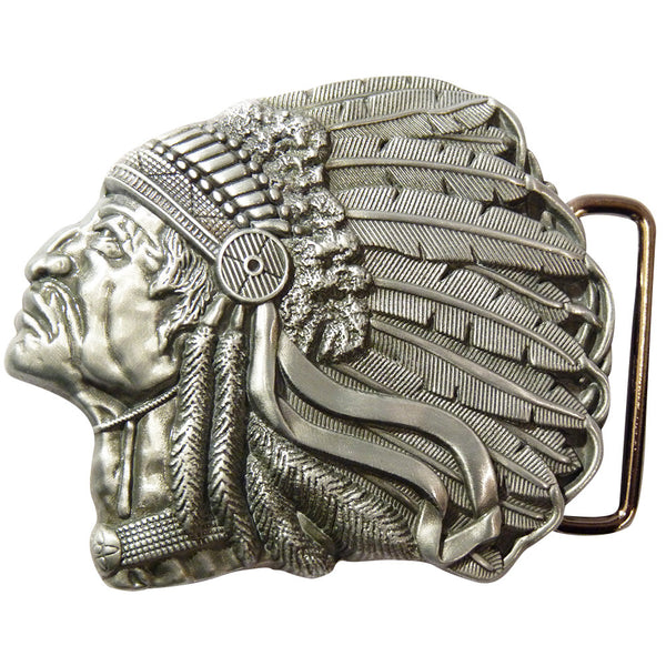 Native American Belt Buckle - side Angle - BBT Clothing - 1