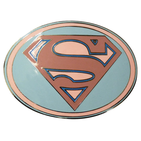Superman Belt Buckle - Pink Oval