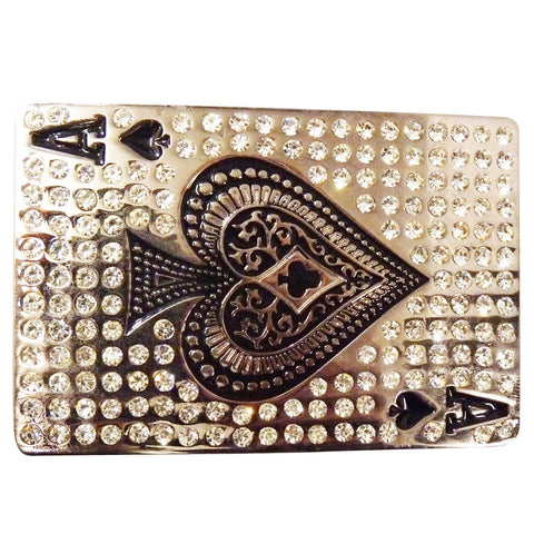 Ace of Spades Belt Buckle with Rhinestones
