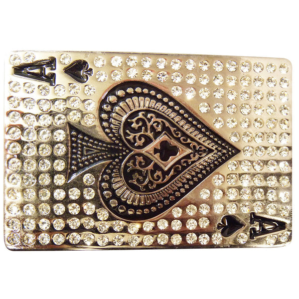 Ace of Spades Belt Buckle with Rhinestones - BBT Clothing