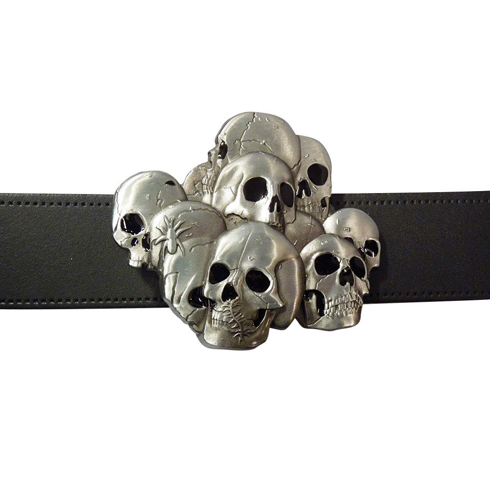 Stacked Skulls Belt Buckle - BBT Clothing - 3