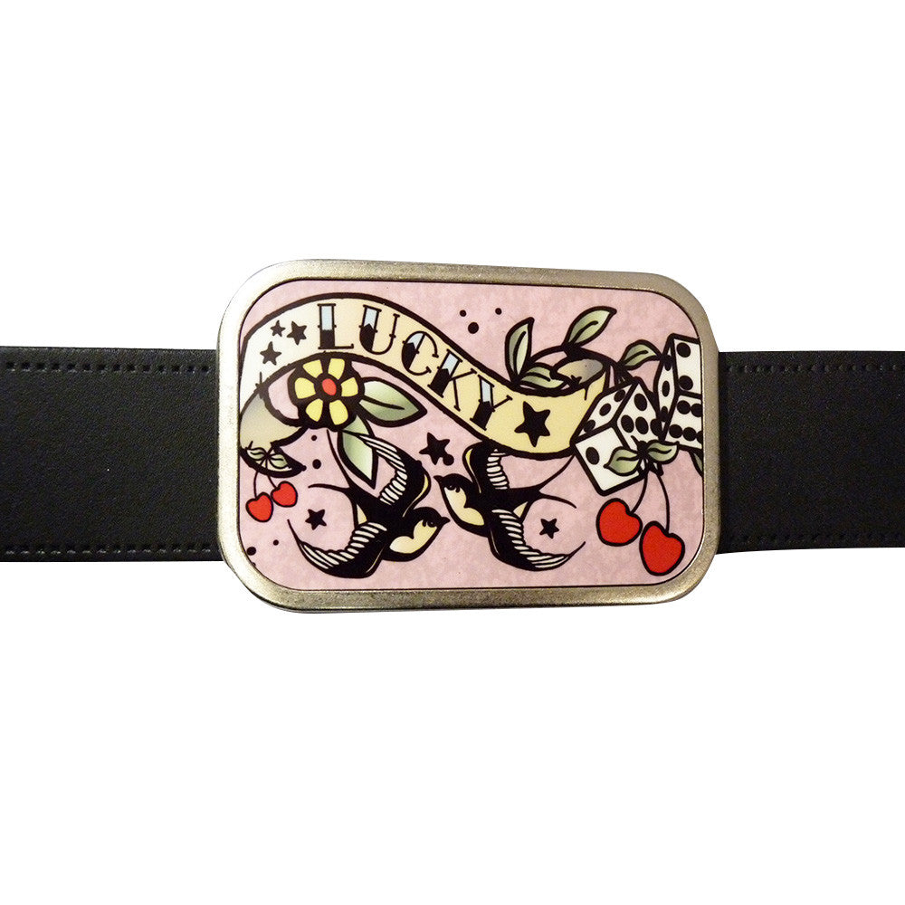 Tattoo 'Lucky' Belt Buckle - BBT Clothing - 3