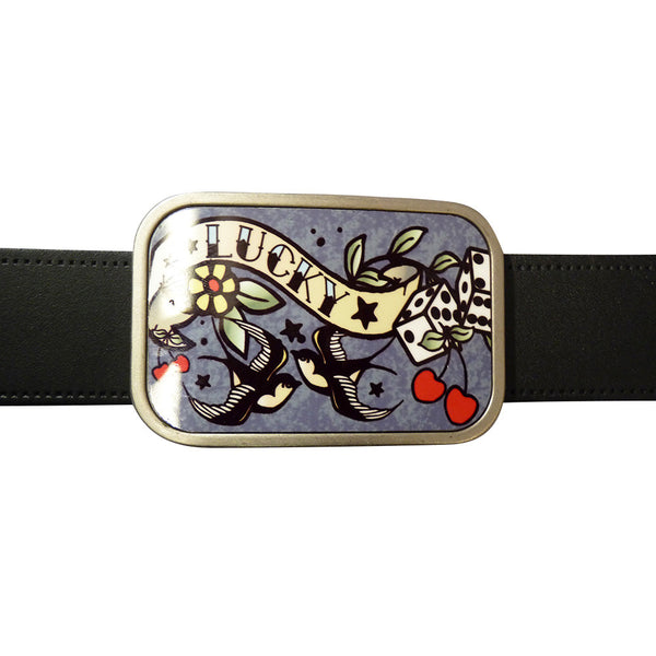 Lucky Tattoo Belt Buckle in Grey - BBT Clothing - 3