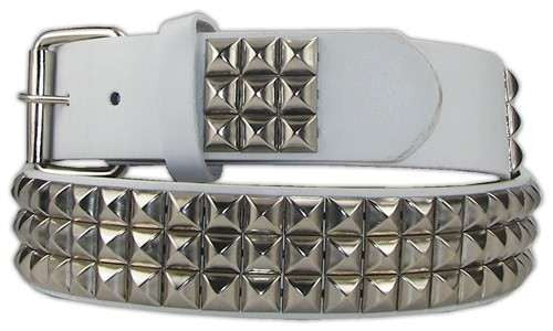 Studded White belt  'Snap on belt' 1 1/2 - BBT Clothing