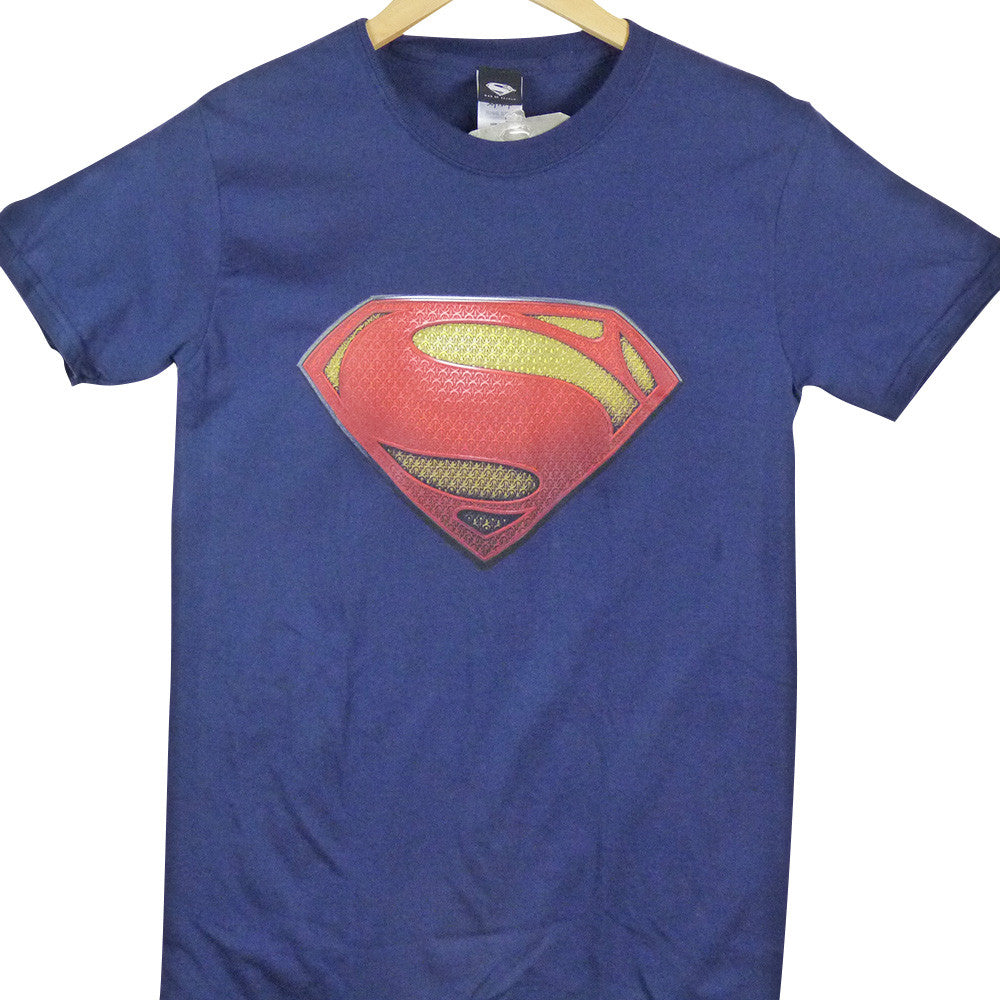 Superman Man Of Steel T-Shirt - Textured Logo - BBT Clothing - 1