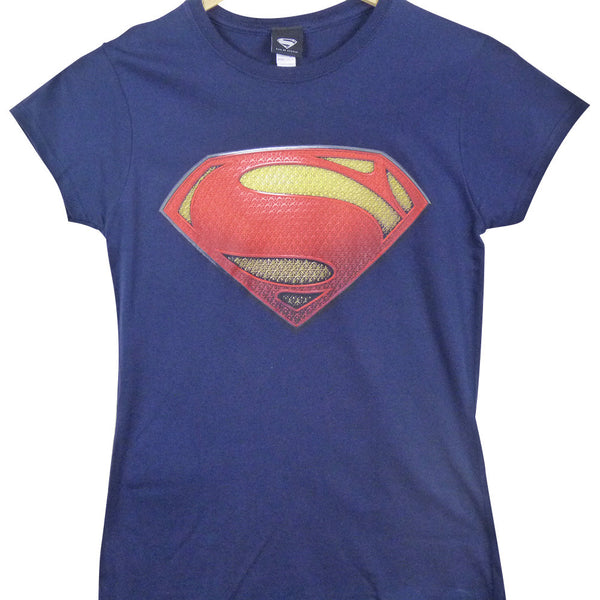 Man Of Steel T-Shirt - Ladies Textured Logo - BBT Clothing - 1