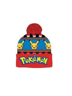 Pokemon Hat - Pikachu and Logo Bobble Beanie - BBT Clothing