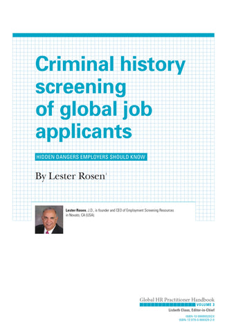 Criminal History Screening of Global Job Applicants