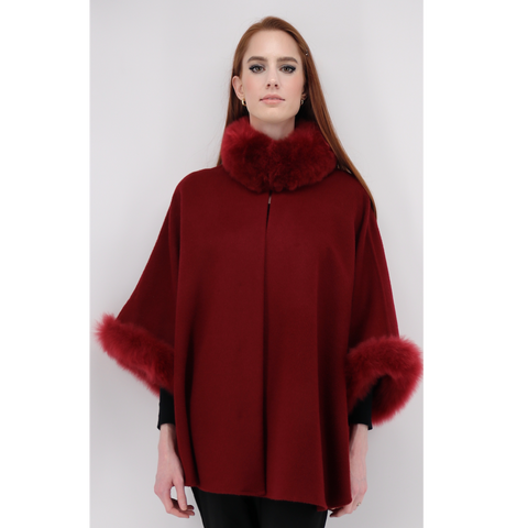 Fur Cape with Red Trim