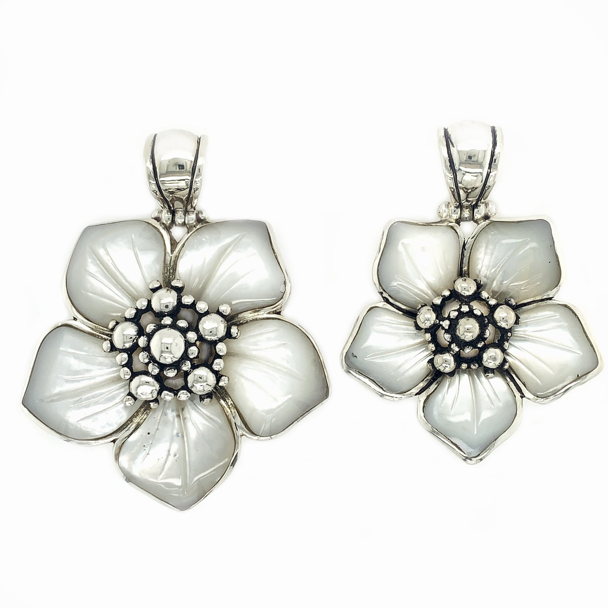 Sterling Silver & Carved Mother-of-Pearl Flower Pendant - Qinti - The Peruvian Shop