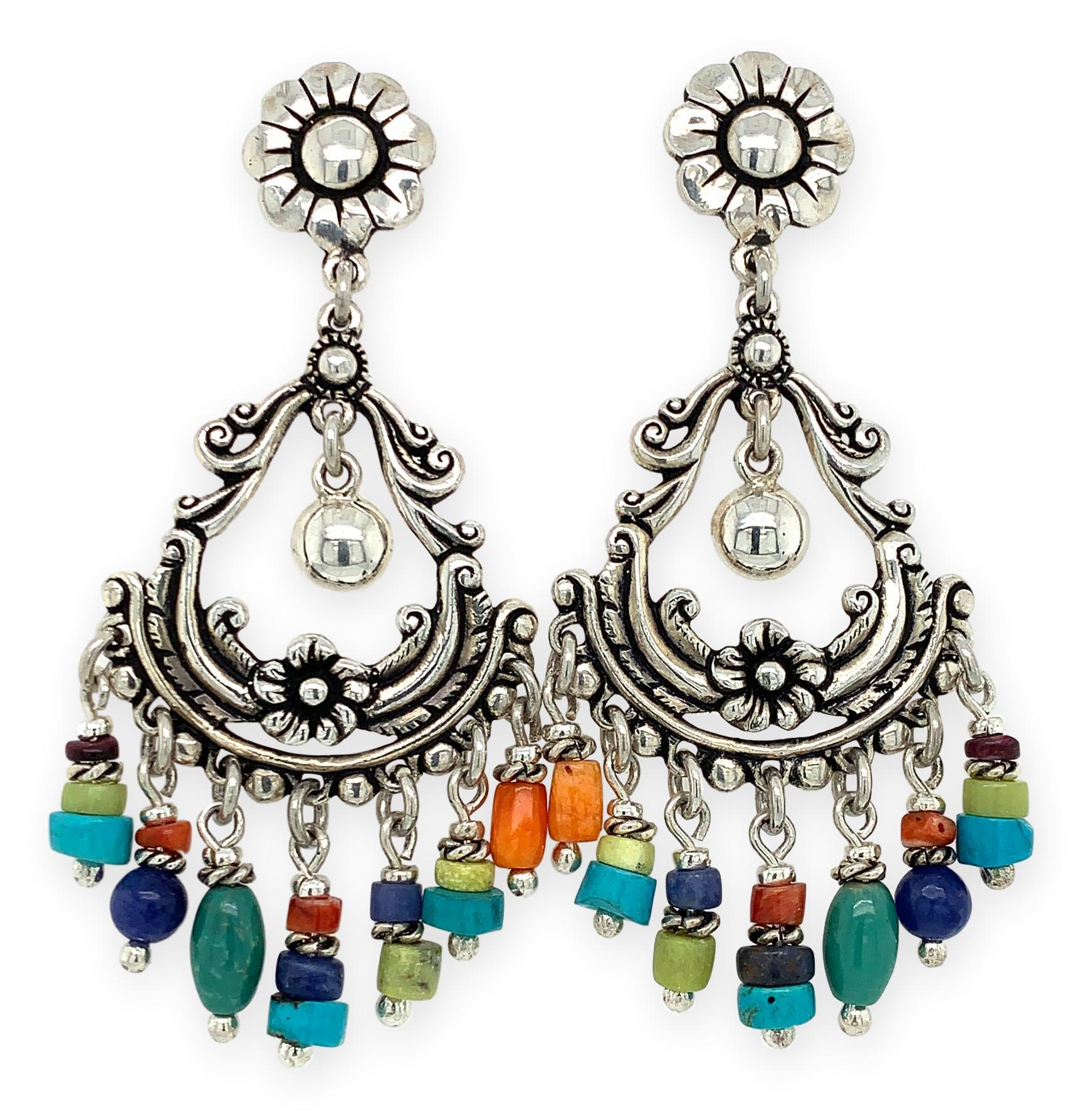 Festive Flower Chandelier Earrings - Qinti - The Peruvian Shop