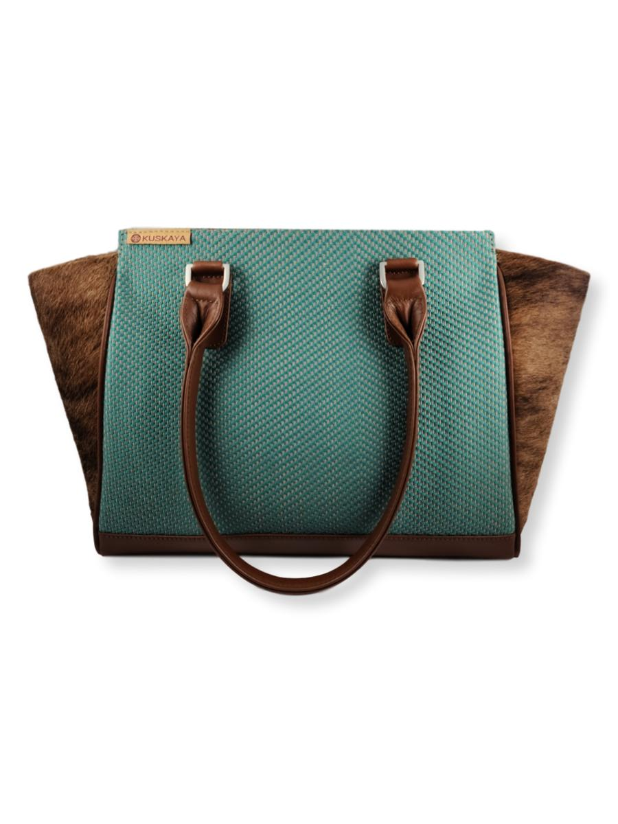 Amanda Handbag with Cowhide - Teal Hues