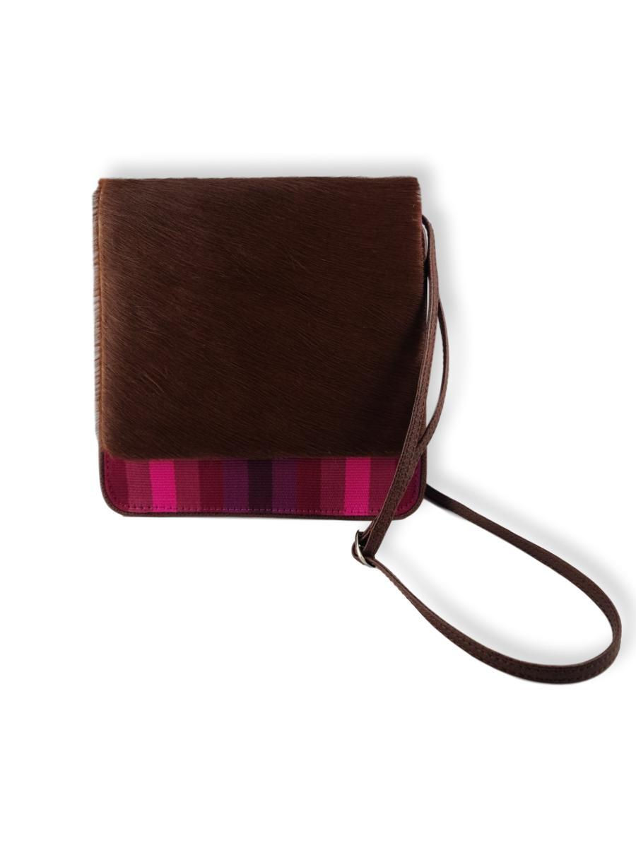 Cocktail Crossbody with Cowhide - Orchids - Qinti - The Peruvian Shop