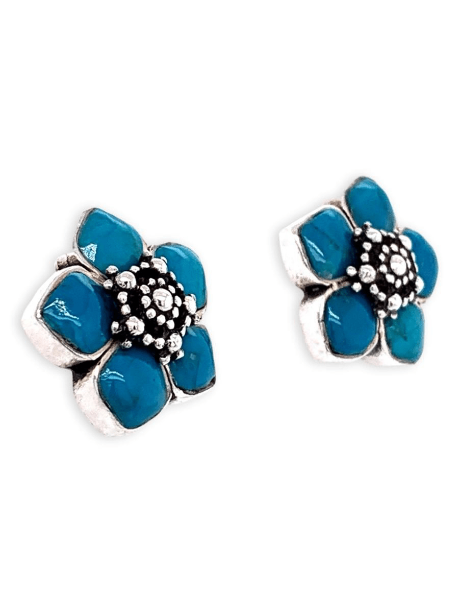 Sterling Silver and Chrysocolla Earrings - Carved Flowers - Qinti - The Peruvian Shop