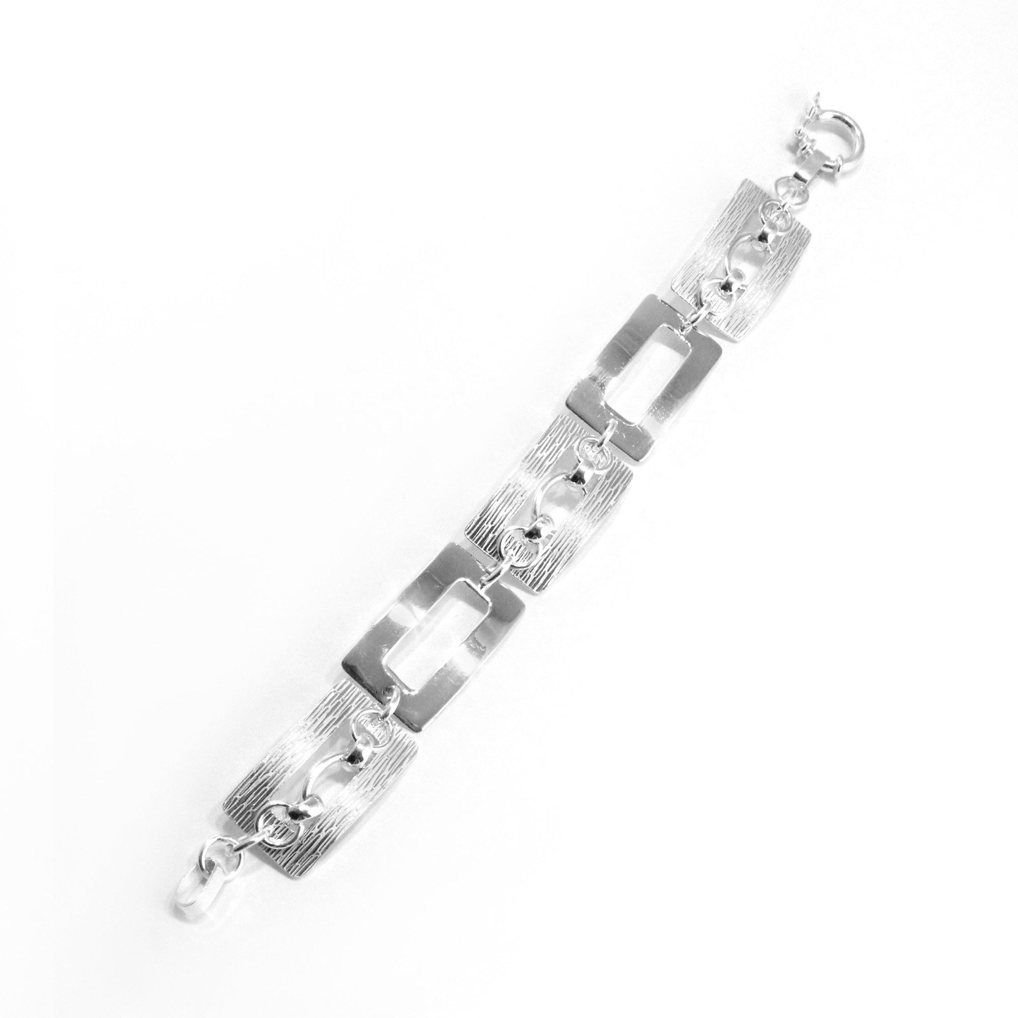 Textured Geometric Sterling Silver Bracelet - Qinti - The Peruvian Shop