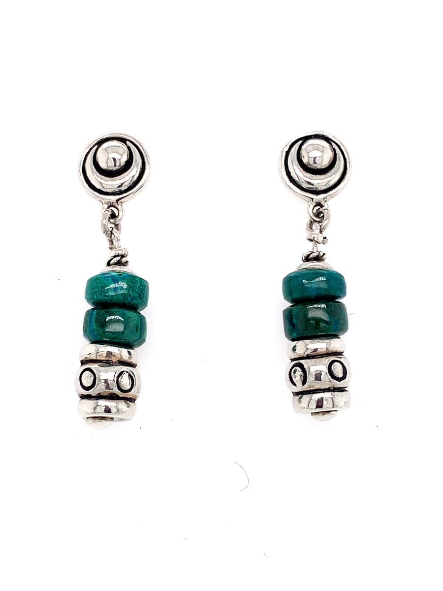 Chrysocolla & Sterling Silver Beads dangling Earrings