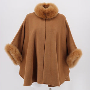 Fur-Trimmed Camel Cape in Alpaca