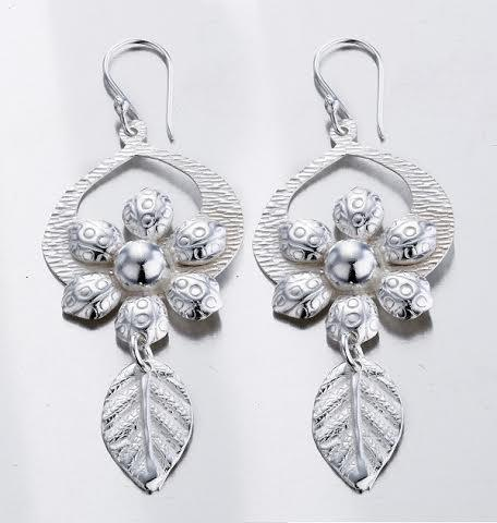 Flower & Leaf Sterling Silver Earrings , STERLING SILVER JEWELRY - EARRINGS - ARTISANS ON MAIN STREET, {Artisan_Silver_Gifts}