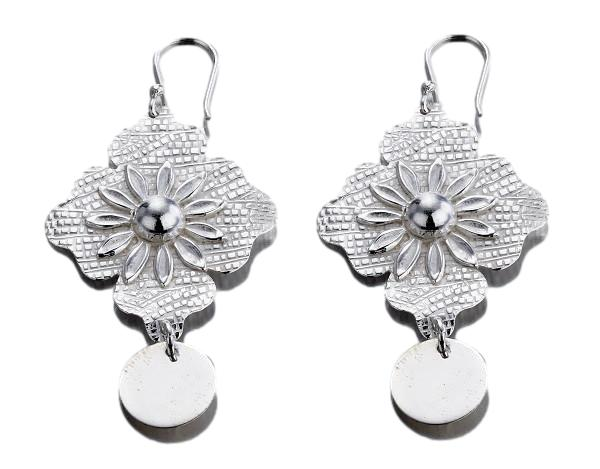Large Flower Sterling Silver Earrings