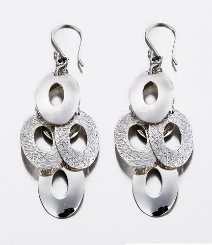 Open Ovals Cascade Earrings in High Polish & Textured Sterling Silver , STERLING SILVER JEWELRY - EARRINGS - ARTISANS ON MAIN STREET, {Artisan_Silver_Gifts} - 1