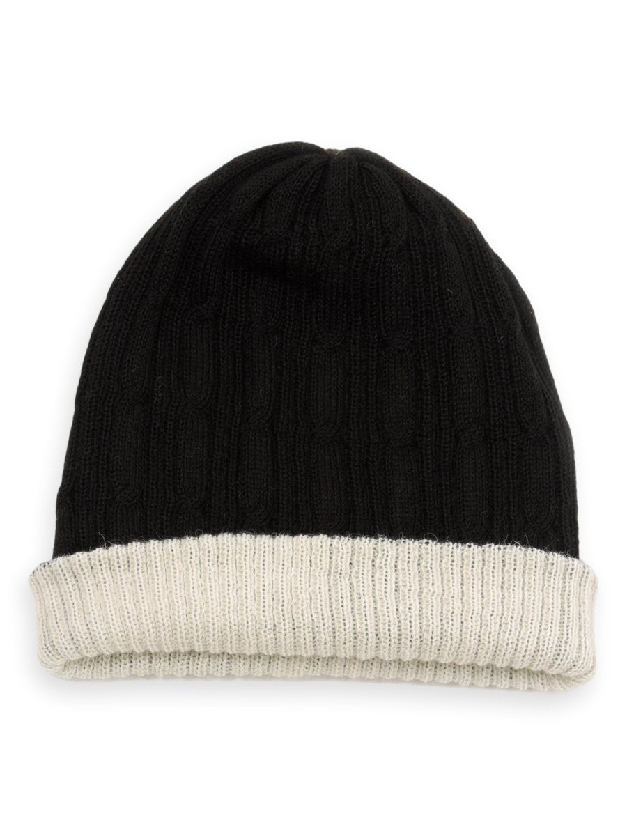 Reversible Baby Alpaca Beanie Hat - Black/ Cream