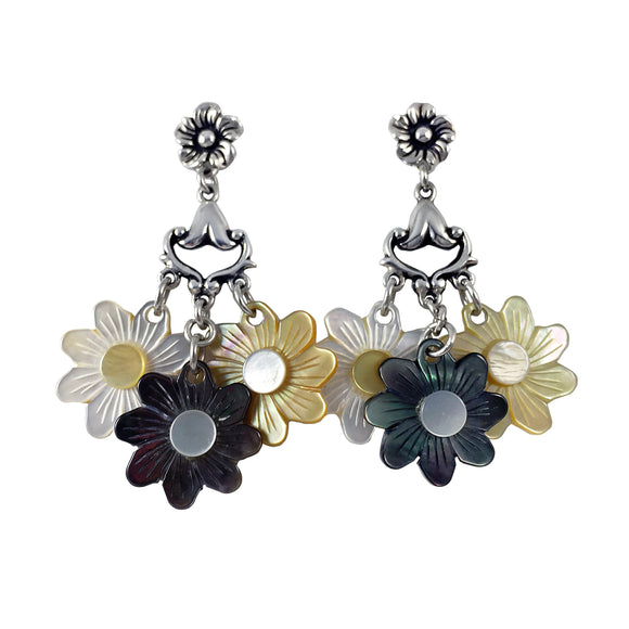Carved Mother-of-Pearl and Sterling  Silver Flower Dangle Earrings Sterling Silver