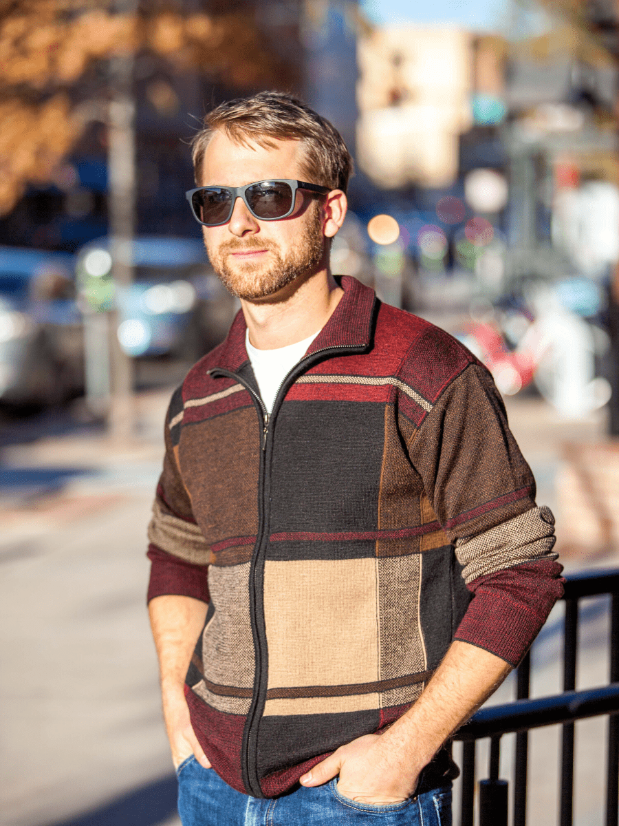 Men's Baby Alpaca Zip-up Knitted Cardigan Sweater in Plaid - Qinti - The Peruvian Shop