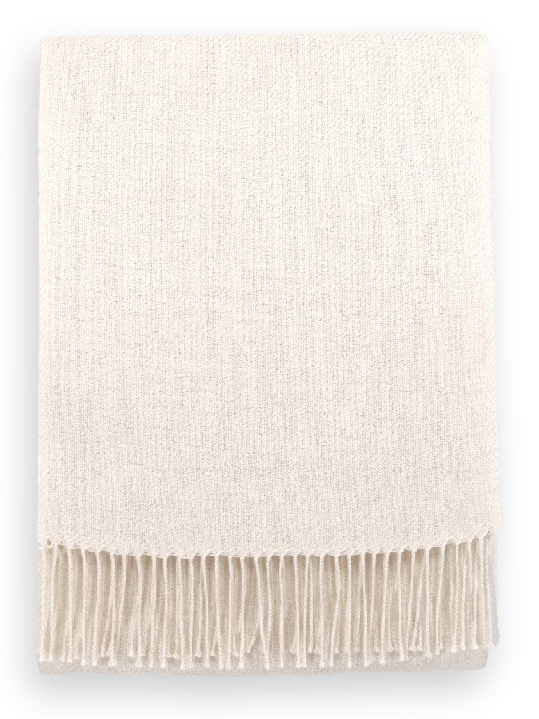 100% Baby Alpaca Woven Scarf - Natural White