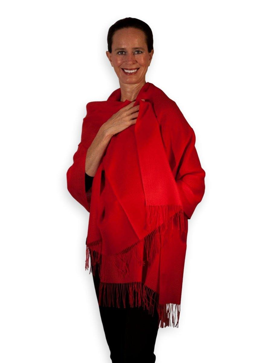100% Baby Alpaca Shawl in Solid Color - Bright Red