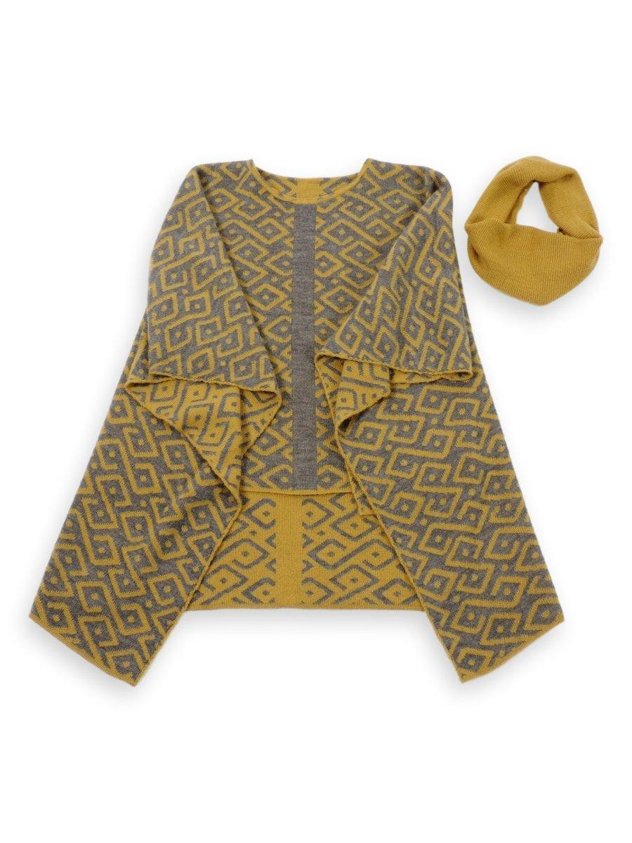 100% Baby Alpaca Reversible Knit Poncho Sweater - Yellow & Grey